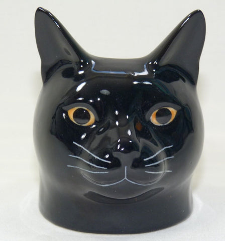 Black Cat Face Egg Cup from Quail Ceramics