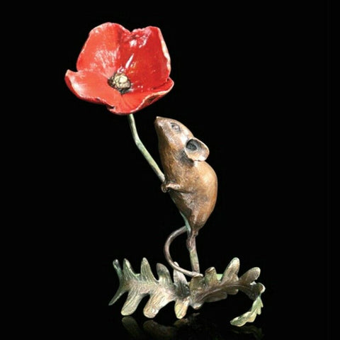 RICHARD COOPER BRONZE -MOUSE ON POPPY
