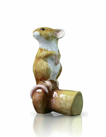 RICHARD COOPER STUDIO - BONE CHINA - MOUSE ON CHAMPAGNE CORK