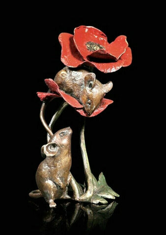 RICHARD COOPER STUDIO - BRONZE - MICE ON POPPY Ltd. Edition