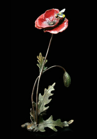 RICHARD COOPER STUDIO - BRONZE - POPPY WITH HONEY BEE - LTD EDITION