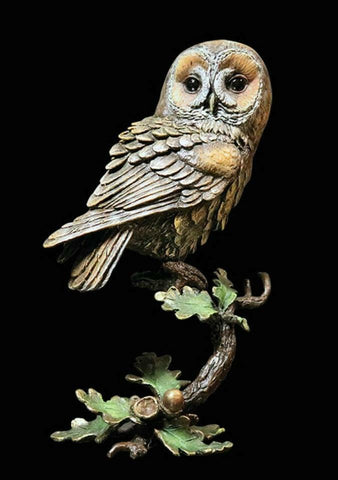 RICHARD COOPER STUDIO - BRONZE - TAWNY OWL ON ACORNS - LTD EDITION
