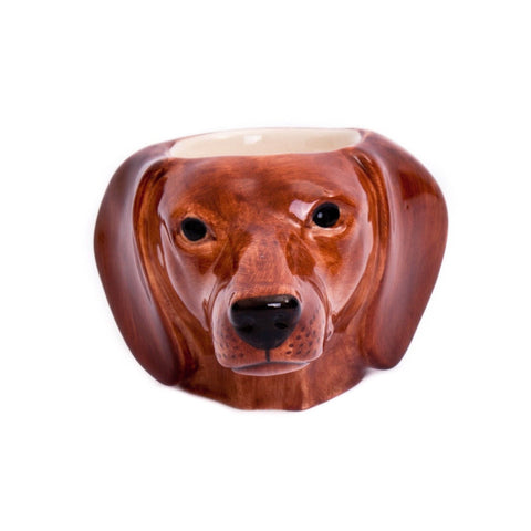 Red Dachshund face Egg Cup from Quail Ceramics