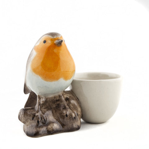 Robin with Egg Cup from Quail Ceramics