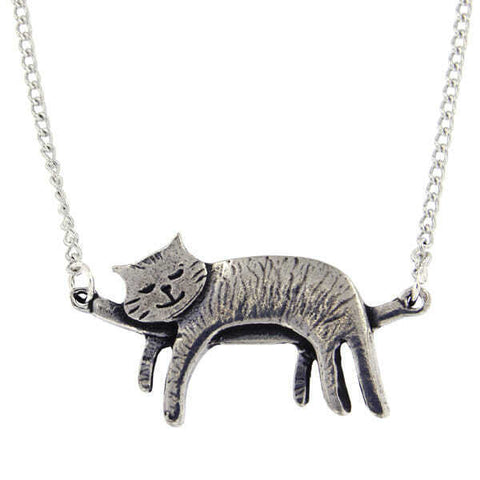 ST JUSTIN PEWTER - CAT SLEEPING NECKLACE Long