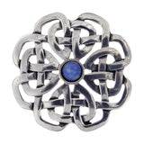 ST JUSTIN PEWTER BROOCH - CELTIC ROSE WITH TURQUOISE STONE
