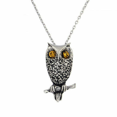 ST JUSTIN PEWTER - OWL PENDANT