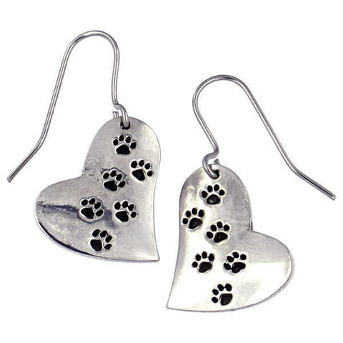 ST JUSTIN PEWTER - PAW PRINT HEART DROP EARRINGS