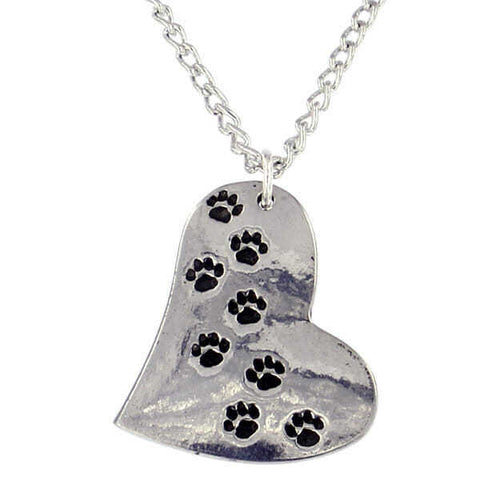 ST JUSTIN PEWTER - PAW PRINT HEART PENDANT