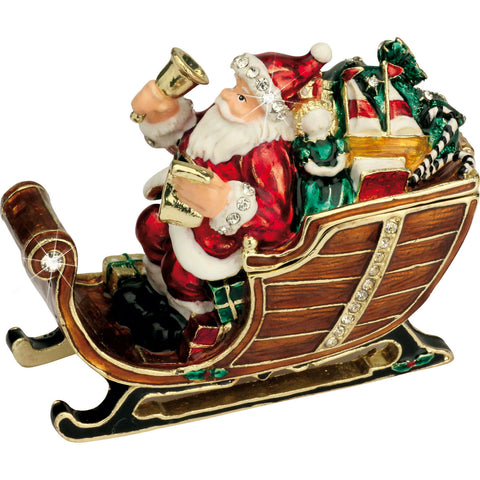 Arora Design Craycombe Santa's Sleigh With Bells Trinket Box