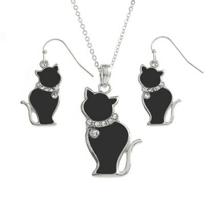 TIDE FASHION JEWELLERY - BLACK SHELL CAT NECKLACE & EARRINGS