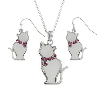 TIDE FASHION JEWELLERY - WHITE SHELL CAT - NECKLACE & EARRINGS