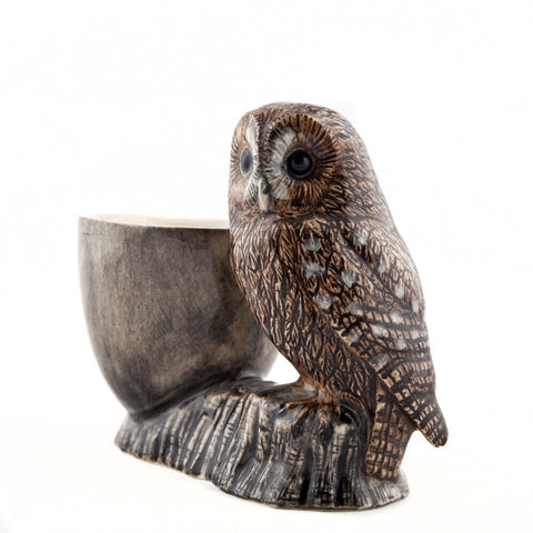 Tawny Owl with Egg Cup from Quail Ceramics
