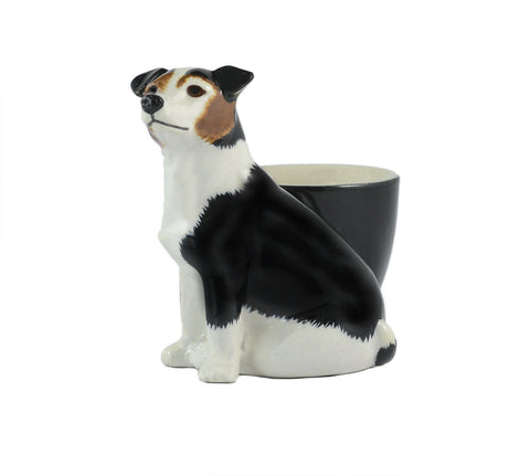 Tri-coloured Smooth Jack Russell with Egg Cup from Quail Ceramics
