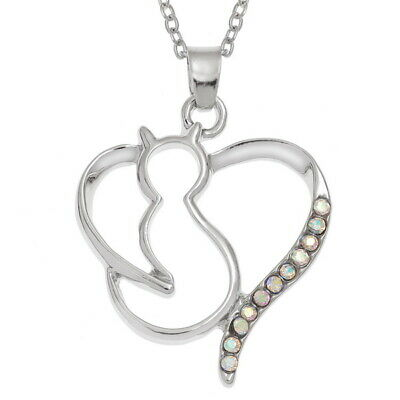 WISH FASHION JEWELLERY - Cat & Heart Pendant