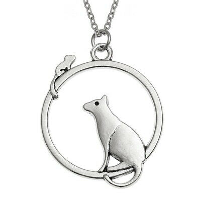 WISH FASHION JEWELLERY - Cat & Mouse in Circle Pendant