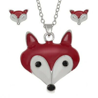 WISH FASHION JEWELLERY - Enamelled Fox Pendent & Stud earrings