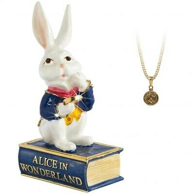 Arora Design Trinket Box Hidden Treasures Alice In Wonderland White Rabbit