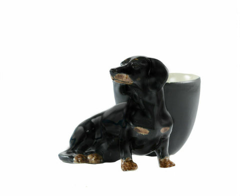 Quail Ceramics: Egg Cup With Dachshund