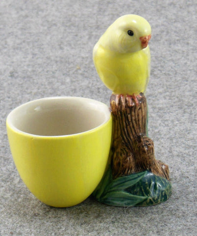Quail Ceramics: Egg Cup With Budgerigar - Yellow