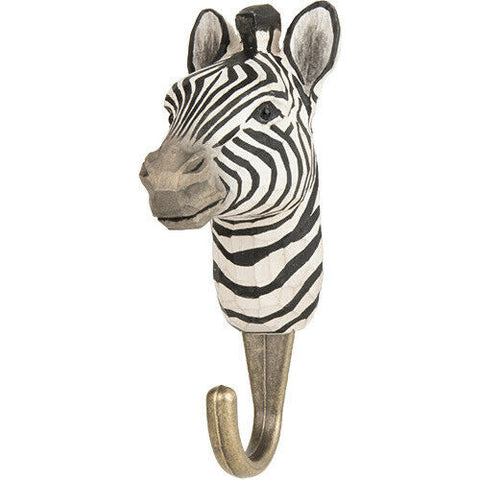 Wildlife Garden: Hook: Hand Carved - Zebra