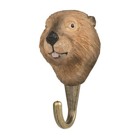 Wildlife Garden Hook Hand Carved Beaver - new for 2020