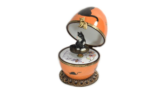 Limoges Porcelain Orange Musical Egg decorated with Black Cat by Fanex