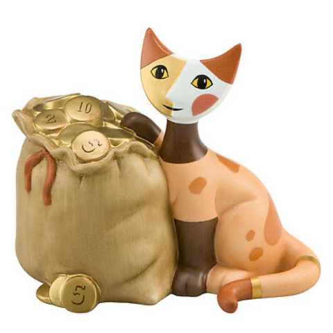 Rosina Wachtmeister cat in bag - Money Box Borsa lieno d'oro