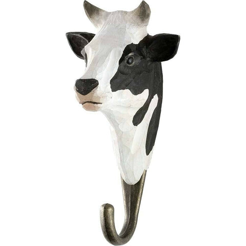 Wildlife Garden: Hook: Hand Carved - Black & White Cow