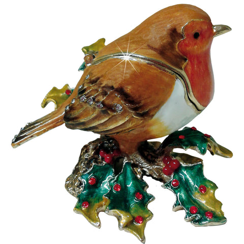Arora Design Craycombe Trinket Box Festive Robin on Holly