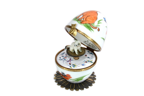Limoges Porcelain Musical Egg decorated with Ginger Cat and Poppies by Fanex