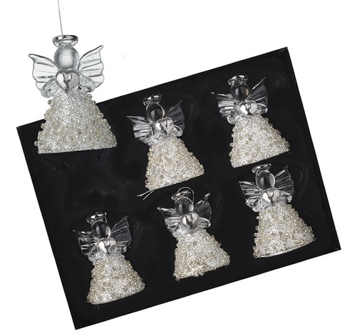 HEAVEN SENDS - GLASS GLITTER SKIRT ANGELS  - SET of 6