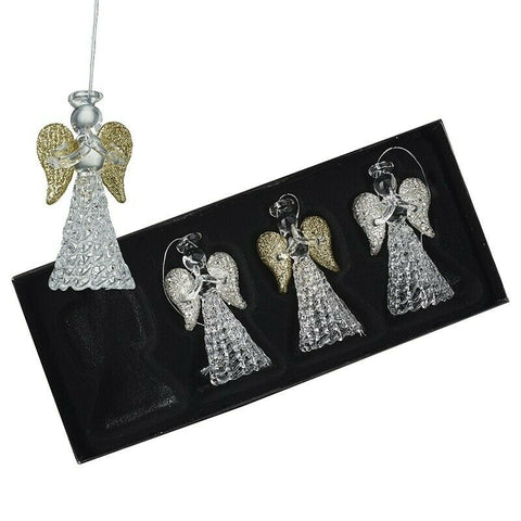 HEAVEN SENDS - GLASS ANGELS WITH GOLD AND SILVER WINGS - SET of 4
