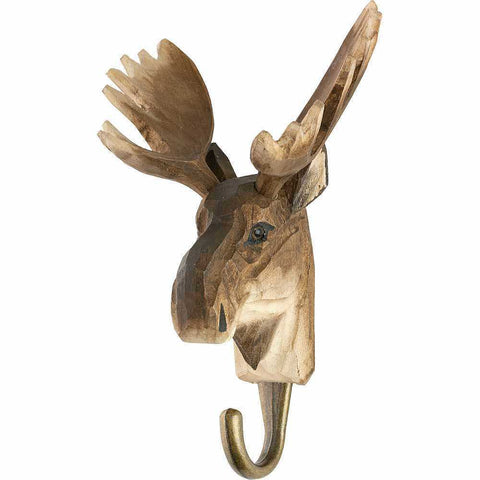 WILDLIFE GARDEN - Hand Carved Hook - Moose
