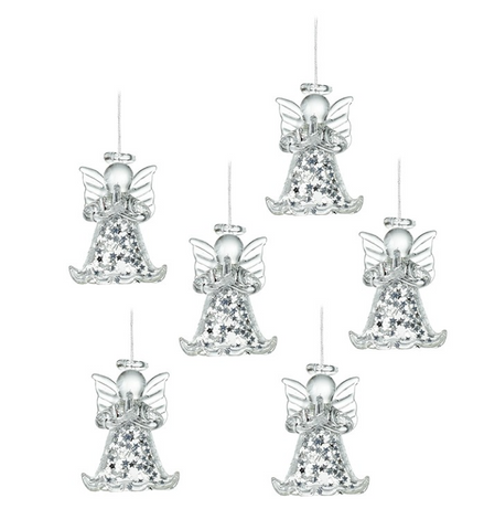 Heaven Sends Hanging Ornaments Set of 6 Glass Angels