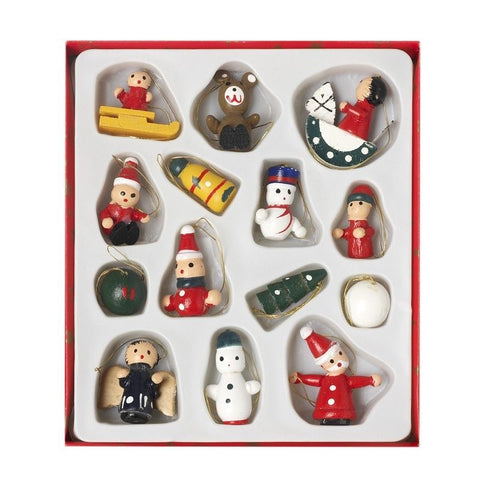 HEAVEN SENDS - 14 assorted small wooden tree decorations