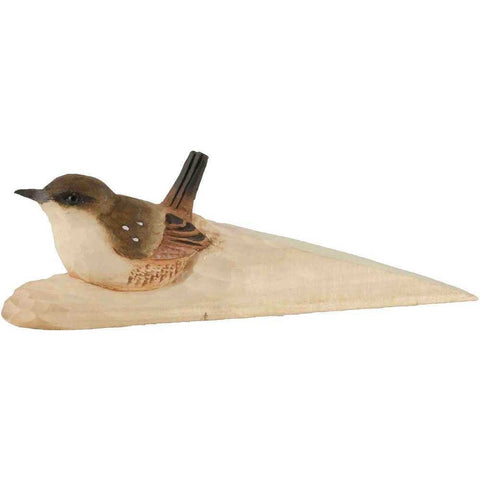 WILDLIFE GARDEN - DOORSTOP WEDGE - WOOD - WITH WREN