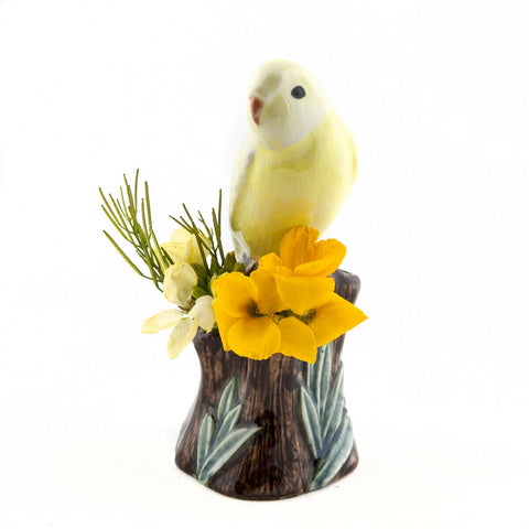 Quail Ceramics Bud Vase Budgerigar - Yellow