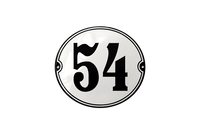 54 Black on white house number sign