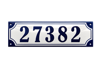 27382 blue on white house number plaque