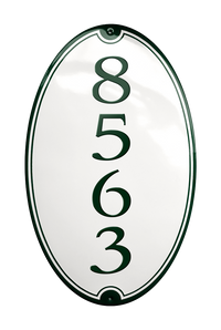 SANDBJERG HOUSE NUMBER porcelain enamel sign