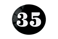35 white on black house number plate