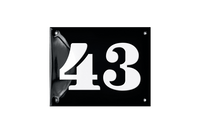 43 white on black house number plate