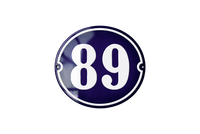 89 blue house number sign