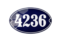 4236 White on blue french house number sign