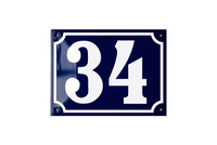 DUBORG HOUSE NUMBER porcelain enamel sign