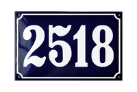 House Numbers enamel sign