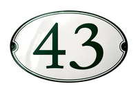 SANDHOLM HOUSE NUMBER porcelain enamel sign