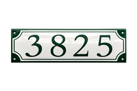 3825 green on white house number sign