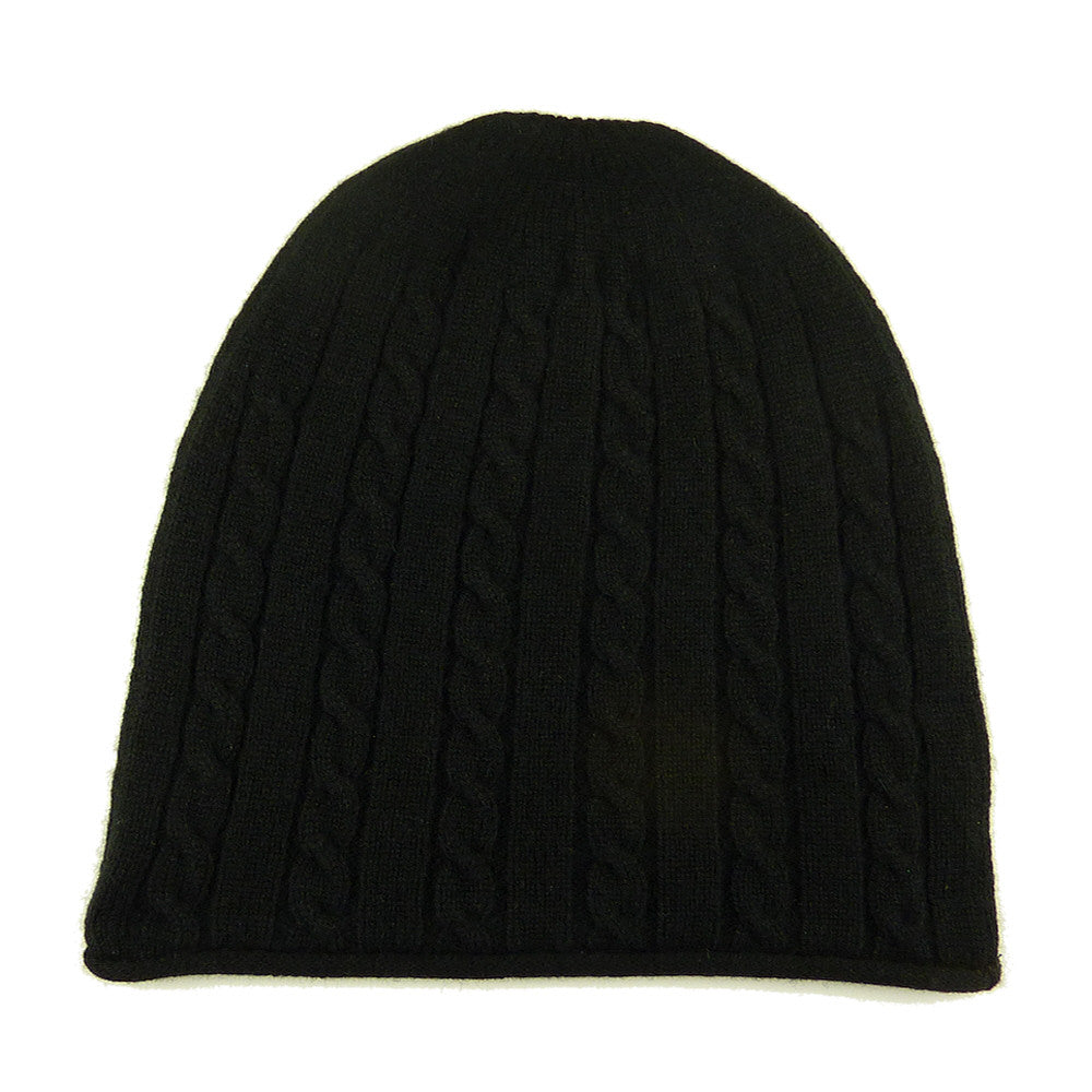 Luxury Cashmere Cable Knit Hat Black